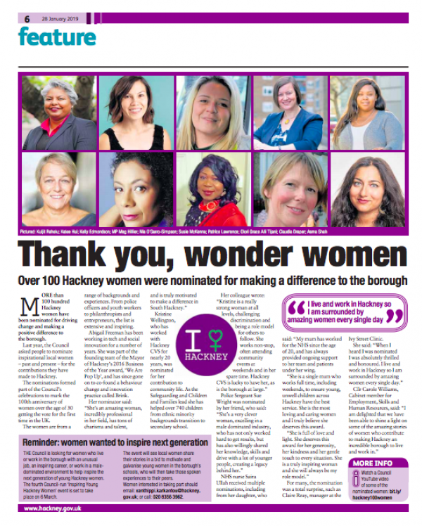 Our CEO Asma Shah nominated as one of Hackney's 100 wonder women.