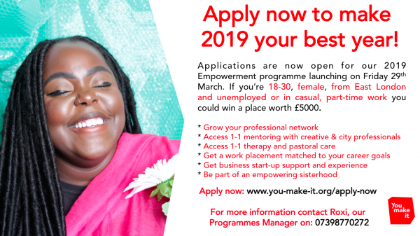 Applications for our Spring 2019 Programme are now open